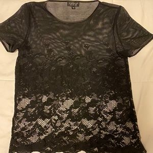 TOPSHOP Lace Short Sleeve Shirt Ladies U.S. Sz. 4